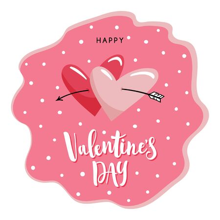 Two cute hearts broken by arrow on the pink dotted background. Hand written lettering Happy Valentine's Day. Vector template for greeting cards.