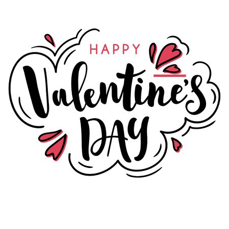 Happy valentines day phrase. Beautiful hand-drawn holiday lettering. Black and white vector template for print or greeting card. 向量圖像