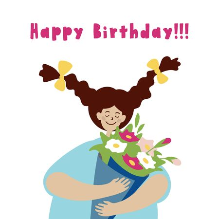 Black-haired girl with a bouquet of flowers. Happy birthday lettering. Vector illustration suitable for a greeting card. Vettoriali