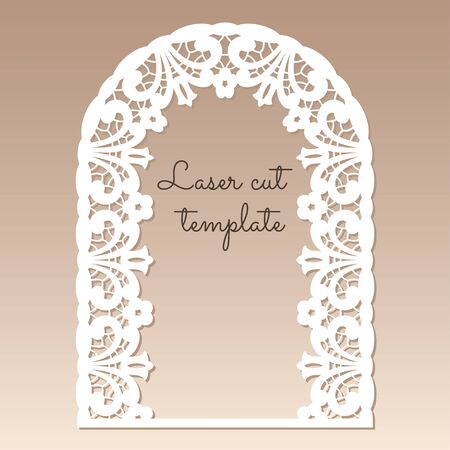 Openwork arch with floral ethnic pattern. Laser cutting template for greeting cards, invitations, wedding decor.