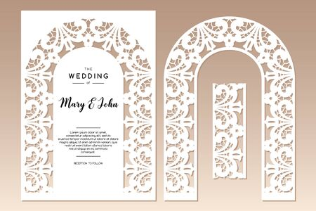 Two openwork arches with floral ethnic pattern. Laser cutting template for greeting cards, invitations, wedding decor. 向量圖像