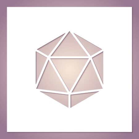 Card with a hole in the form of a geometric figure. Futuristic symmetric polygon. Template for laser or plotter cutting.