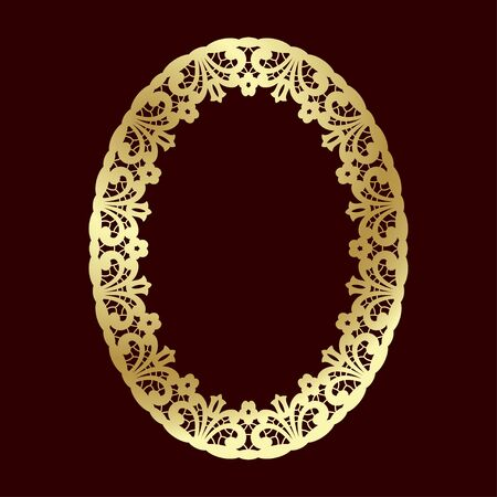 Golden openwork frame with floral ethnic pattern. Laser cutting template for greeting cards, wedding invitations and decorations. 版權商用圖片 - 144018852