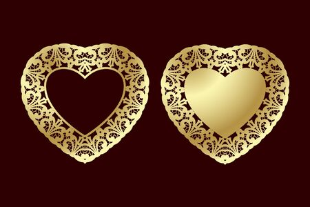 Two openwork golden hearts with floral ethnic pattern. Laser cutting template for greeting cards, invitations, wedding decor.