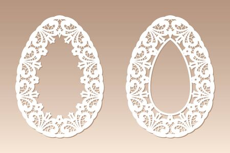 Two openwork easter eggs with floral ethnic pattern. Laser cutting template for greeting cards, invitations, easter decor.