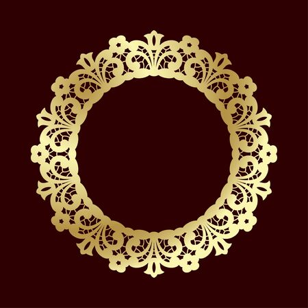 Golden openwork frame with floral ethnic pattern. Laser cutting template for greeting cards, wedding invitations and decorations. 向量圖像