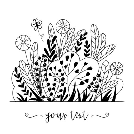 Contour black and white grass and weeds in doodle style. Hand-drawn illustration, vector.