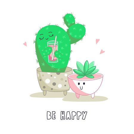 Cute cartoon characters, cactus and succulent in concrete pots. Vector illustration.