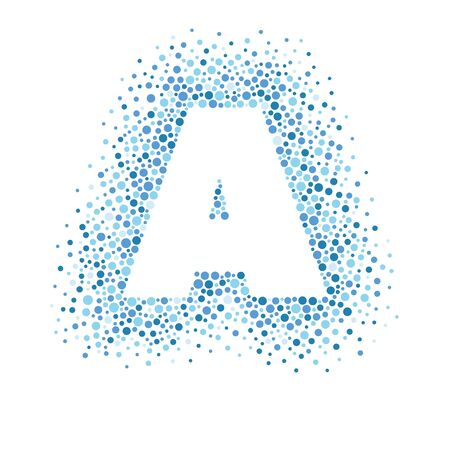 Silhouette of the letter A. Form consisting of dots of various size. Vector abstract background.