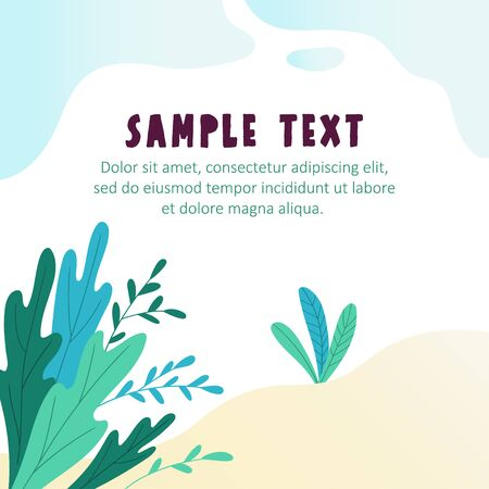 Background with landscape and space for your text. Flat vector illustration with plants and sky.