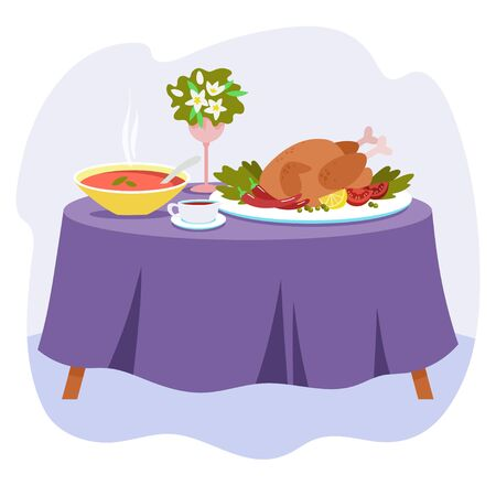 Two-course dinner on a table covered with a tablecloth. Soup and baked chicken with sauce. Vector illustration in flat style.