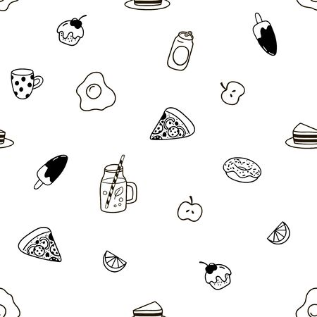 Seamless pattern with doodles food.
