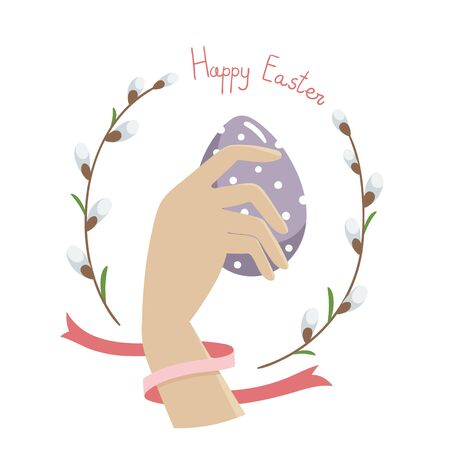 Female hand holds a purple painted easter egg. Handwritten inscription Happy Easter. Red ribbon and willow twigs. Vector flat illustration.