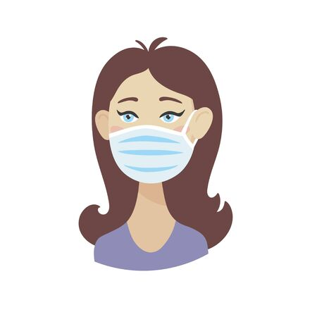 Beautiful young girl in a medical mask. Quarantine Precautions. Vector illustration.
