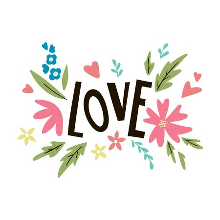 LOVE lettering. Vector template for greeting cards, posters, invitations. 向量圖像