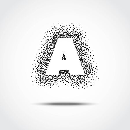 Silhouette of the letter A. Form consisting of dots of various size. Black and white vector abstract background.