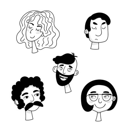 Set of cartoon faces of people with different emotions. Black and white vector characters.
