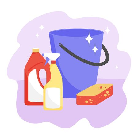 Set of items for wet cleaning. Vector illustration with blue plastic bucket, sponge and detergents. 向量圖像