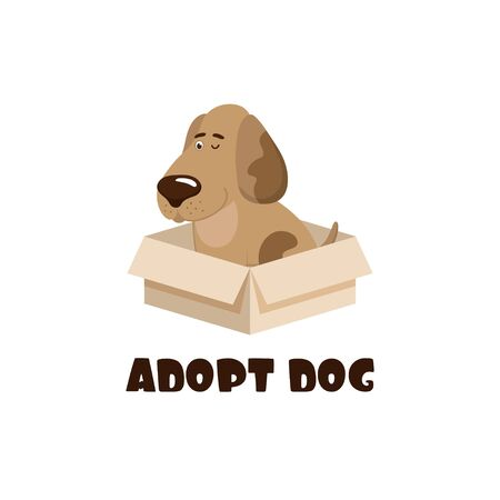 Cartoon puppy in a box and the inscription Adopt a dog. Vector illustration.