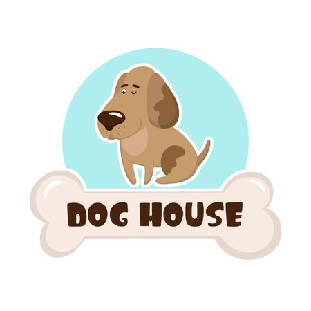 Cute cartoon dog. Vector template for logo of veterinary clinic or vet store.