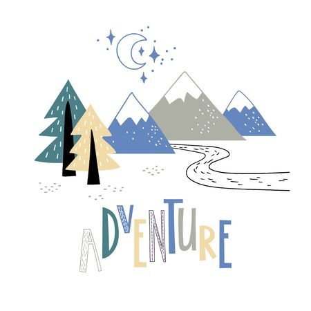 Minimalistic mountain landscape with trees and handwriting inscription Adventure. Vector illustration. 向量圖像
