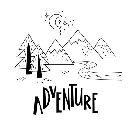 Minimalistic mountain landscape with trees and handwriting inscription Adventure. Black and white vector illustration. 向量圖像