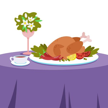 Dinner on a table covered with a tablecloth. Baked chicken with vegetables and tomato sauce. Vector illustration in flat style. 向量圖像