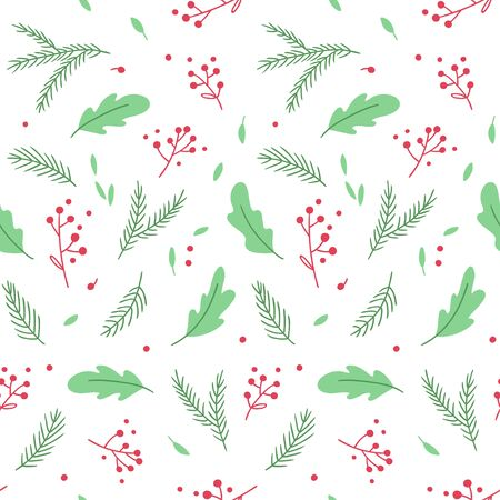 Seamless pattern with tender hand-drawn sprigs and leaves. Vector background.