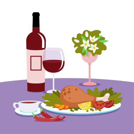Dinner on a table covered with a tablecloth. Baked chickens leg with vegetables, sauce and vine. Vector illustration in flat style.