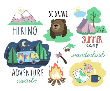 Set of hand drawn tourism and hiking elements and letterings. Mountains, bonfire, tent, van and other objects. Vector clipart. 向量圖像