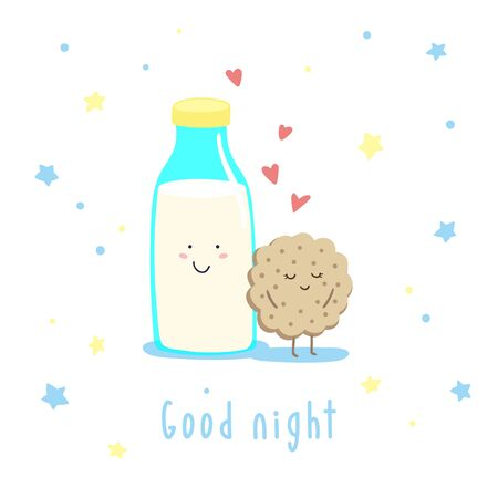 Cute cartoon milk bottle and cookies in the starry sky. Vector childish illustration.
