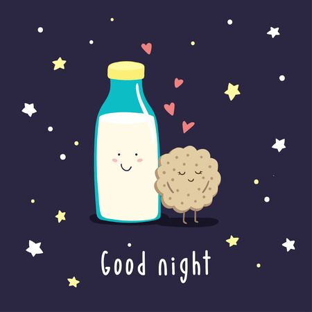 Cute cartoon milk and cookies in the night starry sky. Vector childish illustration.