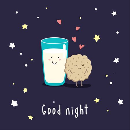 Cute cartoon milk and cookies in the night starry sky. Inscription Good night. Vector childish illustration.