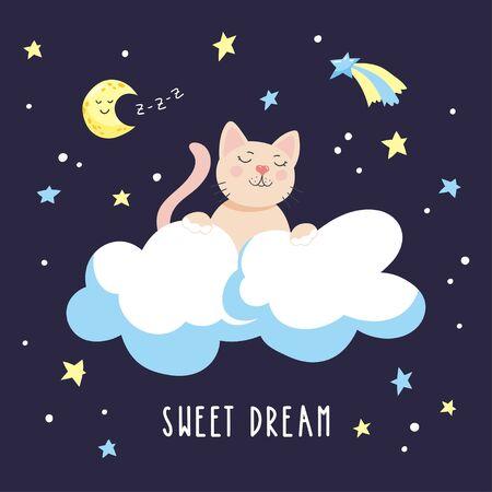 Sleepy cartoon kitten in the clouds in the night starry sky. Childish vector illustration.