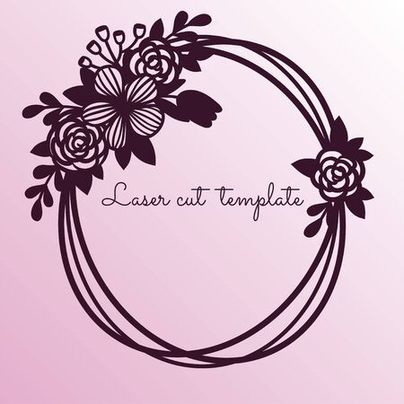 Oval frame with tender wildflowers. Laser cutting template suitable for decorations, cards, interior decorative elements.