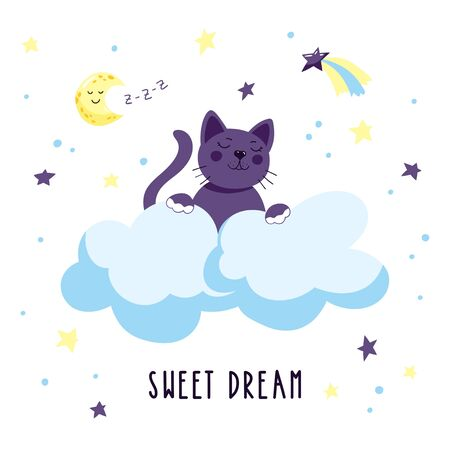 Cute cartoon kitten in the clouds in the starry sky. Childish vector illustration.