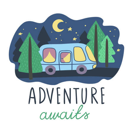 Night landscape with a van on a forest road. Handwritten inscription Adventure awaits. Vector illustration. 向量圖像