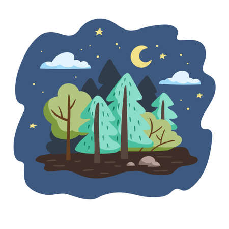 Minimalistic forest landscape. Trees and bushes in a hand drawn style. Vector illustration.
