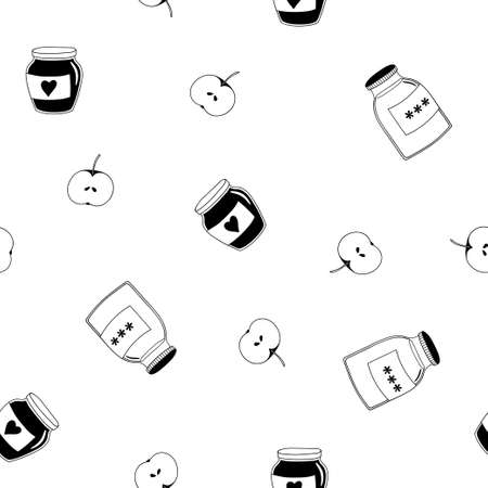 Seamless pattern with hand-drawn jars of jam. Black and white vector template. 向量圖像