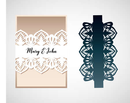An openwork card with a pattern in the style of Richelieu embroidery. Laser cut template for wedding invitation. Design of an envelope, menu, cover or decorative element of the interior.