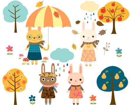 cute: Cute Autumn Bunny Set with Trees and Rain Clouds