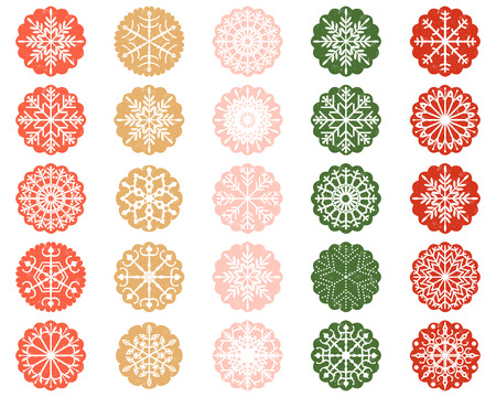 scalloped: White Christmas Snowflake Design in Scalloped Color Circles