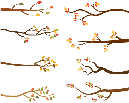 Fall collection of stylized tree branches