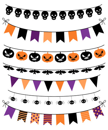Vector banners, bunting and garlands for Halloween Vectores