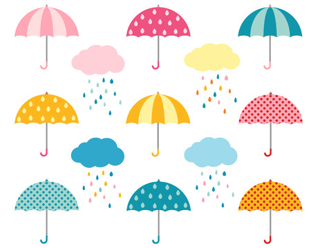 Rainy weather flat umbrellas set and cute clouds with colorful raindrops