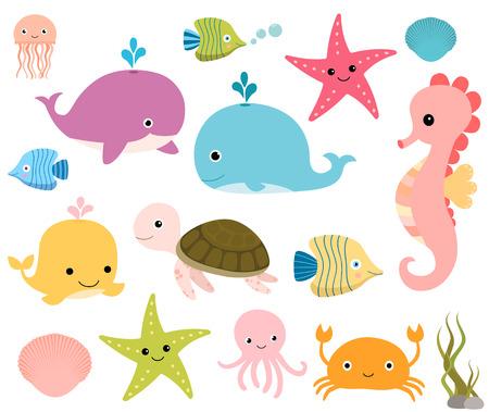 cartoon seahorse: Sea animals set - whale,  octopus, fish, seahorse, turtle, crab,  jellyfish