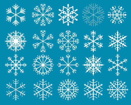 decoraton: White vector snowflakes abstract shapes