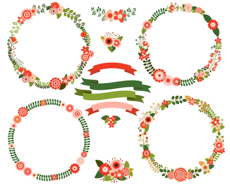 Bloemenkransranden in rode en groene kleuren Vector Illustratie