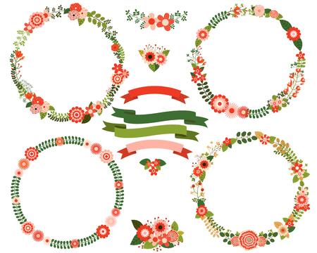 Bloemenkransranden in rode en groene kleuren