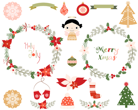alder: Set of Christmas and New Year floral wreaths, design elements, holiday symbols - angel, mittens, hat, laurels, trees, ornaments, banners, poinsettia Illustration